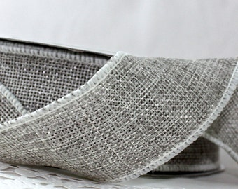 "Gray Faux Burlap Wired Ribbon, 1.5"" wide by the yard, Gray Burlap, Wired Gray Ribbon, Gift Wrapping, Weddings, Home Decor, Party Supplies"
