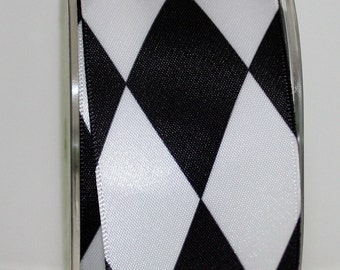 """Black & White Harlequin Ribbon,1.5"""" wide by the yard, Weddings, Halloween Costumes, Gift Wrapping, Harlequin Trim,Home Decor, Party Supplies"""