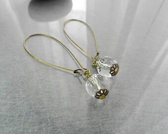 Crystal Drop Earrings.  Crystal Quartz Earrings with Brass Wire.  Crystal ball earrings