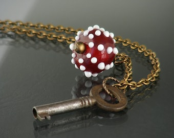 Key Necklace / Vintage Key / Crimson & White Lampglass Drop - Long Chain Necklace