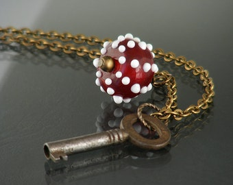 Vintage Key Necklace | Tactile Pendant Necklace with Crimson Red & White Spotted Glass Drop and Small Vintage Key - 33.5 Inch Long Chain