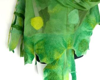 Nuno Felted Scarf, May Green Lime Green, Circles Design, Ruffled, Silk Merino Wool Wrap