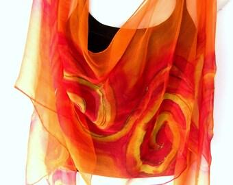 Hand Painted Silk Scarf, Orange Yellow, Swirls, Silk Chiffon Scarf, Gift Under 50
