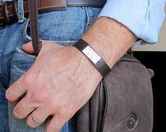 Mens Bracelet - Hebrew Name Bracelet. Leather Mens Bracelet. Mens Personalized Bracelet Adjustable Cuff Bracelet for Men. Brown / Black