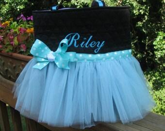 Personalized Turquoise Ballet Tutu Bag