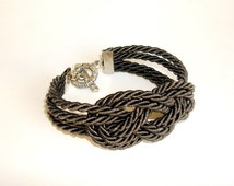 Nautical sailor knot rope bracelet, Charcoal knot bracelet, Nautical jewelry Rope bracelet, Rope knot bracelet