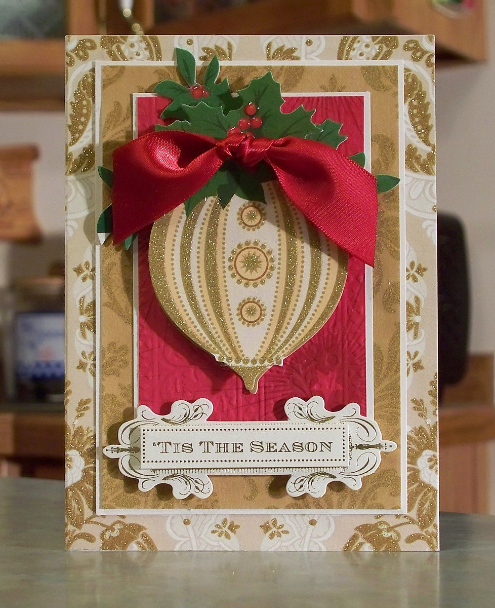 Ornament Christmas Card using Anna Griffin Products