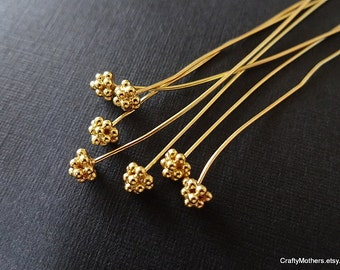 Use TAKE10 for 10% off! SET of 4 Bali 24kt Gold Vermeil Cluster Headpins - 24 gauge / 70mm long, 4 pieces, earring, necklace, artisan-made
