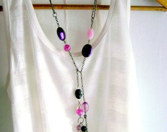 Bohemian style Long purple pink necklace violet pink black asymmetric feminine long necklace indie style hippie chic