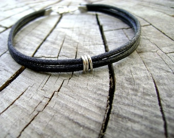 Manly  - mens bracelet black natural cotton cord with silver touches minimalist elegant