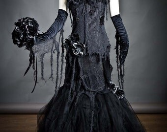 Custom black Vampire zombie mermaid style tulle prom dress Halloween with gloves bouquet and mourning veil S-XL