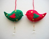 Felt Ornaments Holiday Red and Green Bird Decoration with Hanging Crystals Hand Embroidered Handsewn 2 pieces