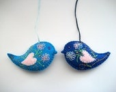 Felt Ornaments Blue Bird Easter or Home Decoration Hand Embroidered Handsewn 2 pieces