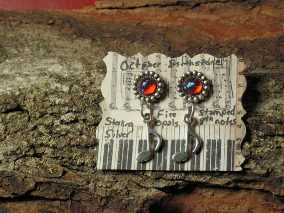 8th note Earrings, Sterling Silver Earrings, Fire Opal Earrings, Dragon's Breath Earrings, Opal Earrings, Music Earrings, flute earrings