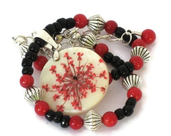 Red Flower Anklet, One of a Kind, Gifts for Women Mom Wife Sister Daughter Grandma Teacher Under 20, Stocking Stuffers