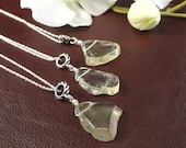 Bridal Party, Set of 3, Genuine Lemon Quartz Freeform Pendant, Sterling Silver Necklace, Therapeutic Gemstones