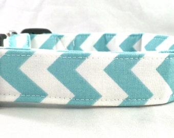 Awesome Aqua Blue and White Chevron Zig Zag Stripe Dog Collar