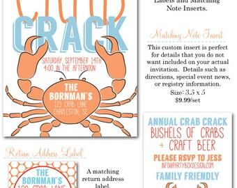 Crab Crack Invites (20 printed 5x7 + envelopes)