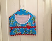 retro large two- patterned  oilcloth clothespin bag with vintage strawberries