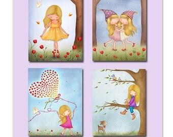 Sisters wall art, Sisters bedroom decor, twins wall art, Kids room art, children art, nursery decor, kids room decor, Art for girls room