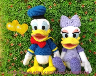Donal duck and Daisy duck 8.5 inches - PDF amigurumi crochet pattern