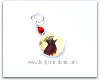 Red Bird with Crown Stitch Marker
