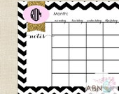 2015 Desk Calendar Pad - Glitter CHEVRON Collection - 11x17 Desk Pad - fill in your own dates - 53 Sheets