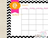 Calendar Desk Pad - Monthly Calendar Sheets - Black CHEVRON Collection - fill in your own dates - 53 Sheets