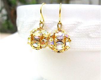 Gold AB Swarovski Rhinestone Bridesmaid Earrings With Gold Ear Wires Aurora Borealis Crystal Bridal Rhinestone Ball Earrings Bridesmaid Gift