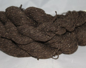 30% off STORE CLOSING SALE Dark Brown Cotton Silk Lambswool Tweedy Recycled Yarn, Fingering Weight Yarn - 448 Yards