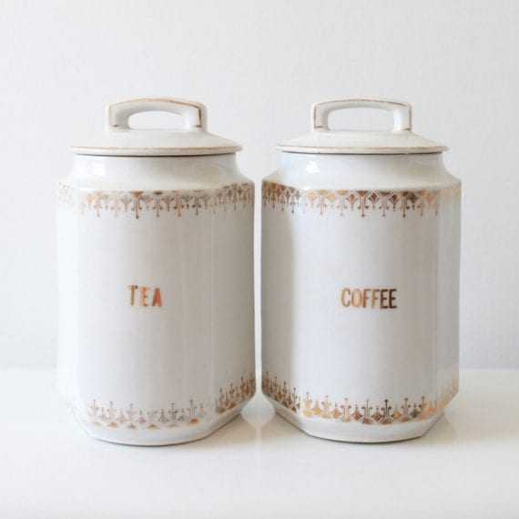 Vintage German White Ceramic Coffee Tea Containers with Lids - Golden Pattern