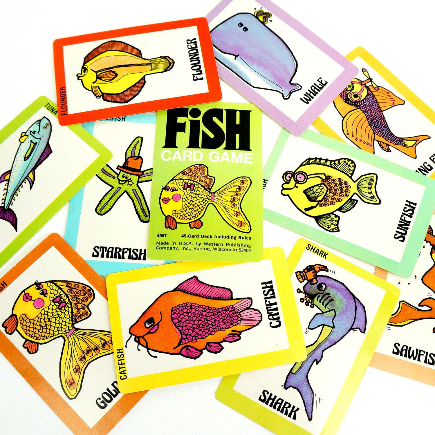Whitman fish card game 70s complete for Fish card game