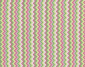 Timeless Treasures Fabric Mini Zig Zag Stripe CHEVRON WHITE Pink and Green
