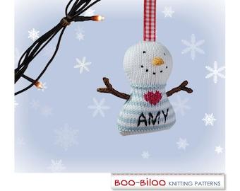 Snowman Knitting Pattern. Christmas decoration / holiday ornament
