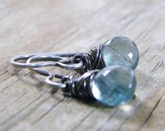 dangle earrings, moss aquamarine gems and sterling silver
