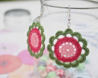 Strawberry Crochet Lace Earrings