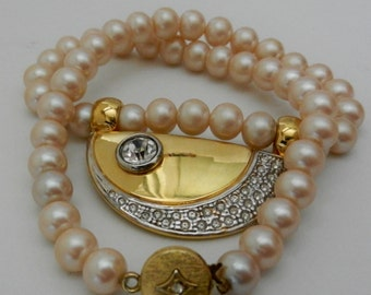 Wonderful Italian collier, 1960 -1 wire excellent ivory pearls pinkish, perfect and precious-Art.729/2 -