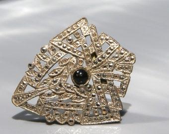 Art Deco Marcasite Dress Clip Black Glass