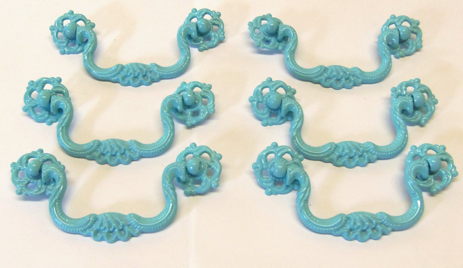 drawer pulls 6 ornate shabby style aqua turquoise ocean blue. Black Bedroom Furniture Sets. Home Design Ideas