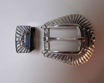 Vintage Pat Areias Taxco Silver Belt Buckle and Keeper