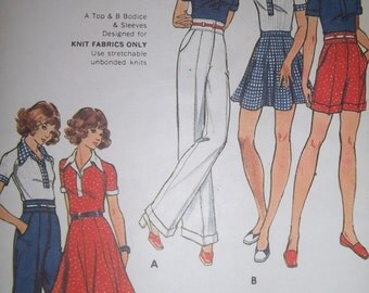 Sale - Vintage - Butterick 3053 - Skirt - Top - Pants - Shorts -  Size 12 - Bust 34 - Designed for Knit Fabrics - Uncut Pattern