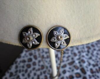 Vintage Button Star Earrings