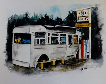 """Fort Kent Maine, Art Print Open Edition- """"Dickie's""""  Fort Kent Maine Ice Cream Stand"""