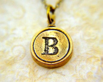Letter B Necklace - Bronze Initial Typewriter Key Charm Necklace - Gwen Delicious Jewelry Design