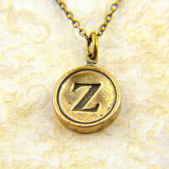 Letter Z Necklace - Bronze Initial Typewriter Key Charm Necklace - Gwen Delicious Jewelry Design GDJ