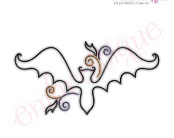 Curly Bat Redwork Outline - Instant Email Delivery Download Machine embroidery design