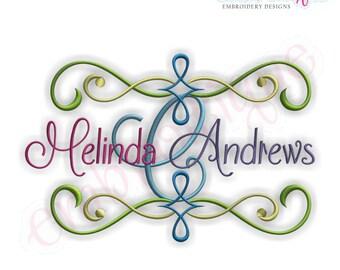 Andrews Font Frame- Instant Download -Digital Machine Embroidery Design