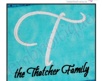 Thatcher Script Monogram Set- Large- Machine Embroidery Font Alphabet Letters  - Instant Email Delivery Download Machine embroidery design
