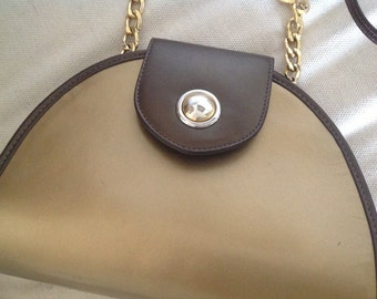 Vintage Due Fratelli Gold And Bronze Genuine Leather Gold Chain Handbag