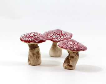 Red and white ceramic mushrooms Fall autumn home decoration Collectibles Miniature sculpture